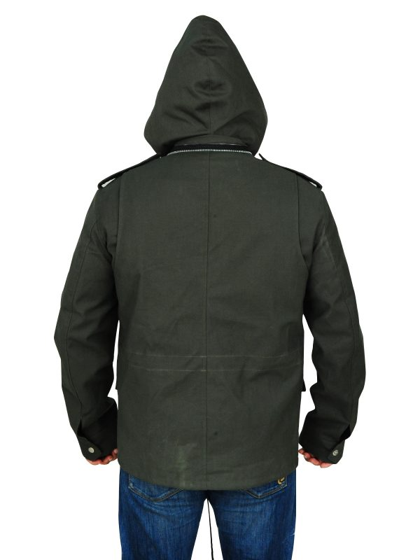 cotton jacket with hoodie, men's olive green cotton jacket,