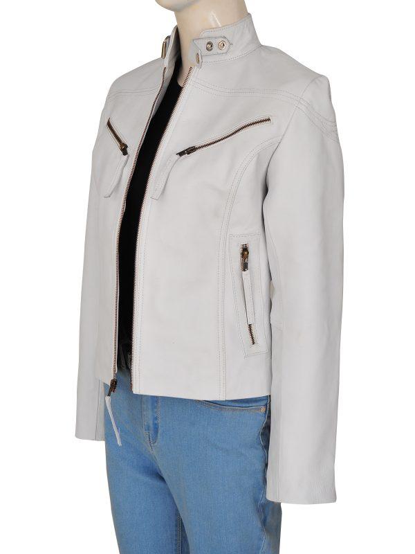 women leather jacket, white leather jacket,