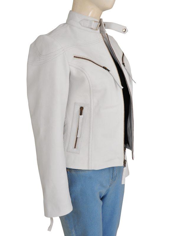 women white fashion jacket, white fashion leather jacket for women,