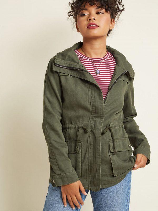 women green cotton jacket