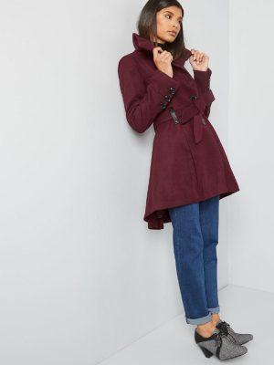 women maroon wool trench