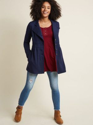 women blue trench