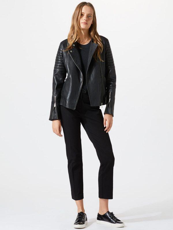 women black biker leather jacket