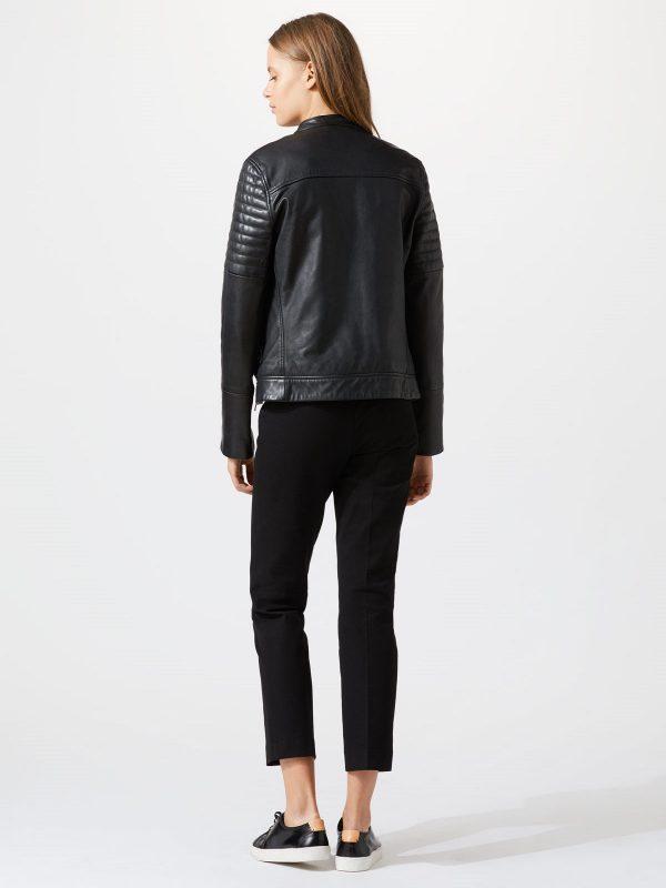 trending women black leather jacket