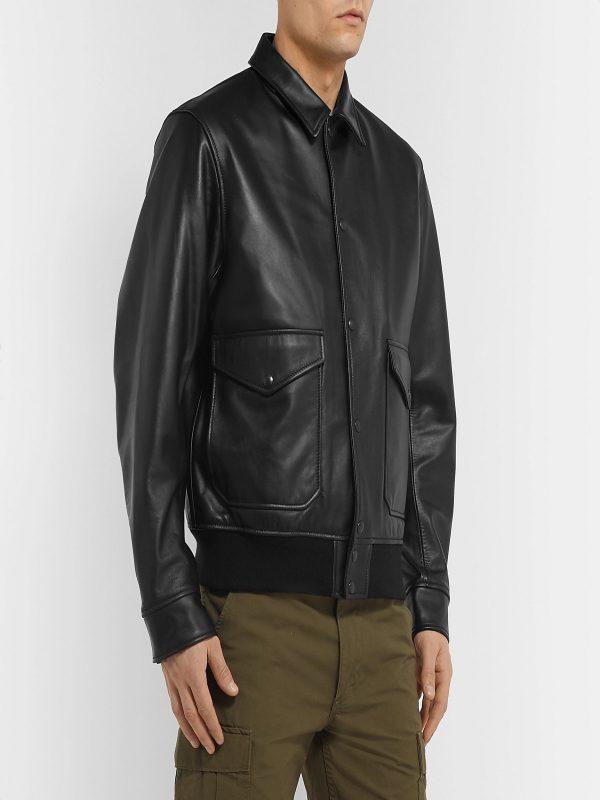 men pitch black jacket