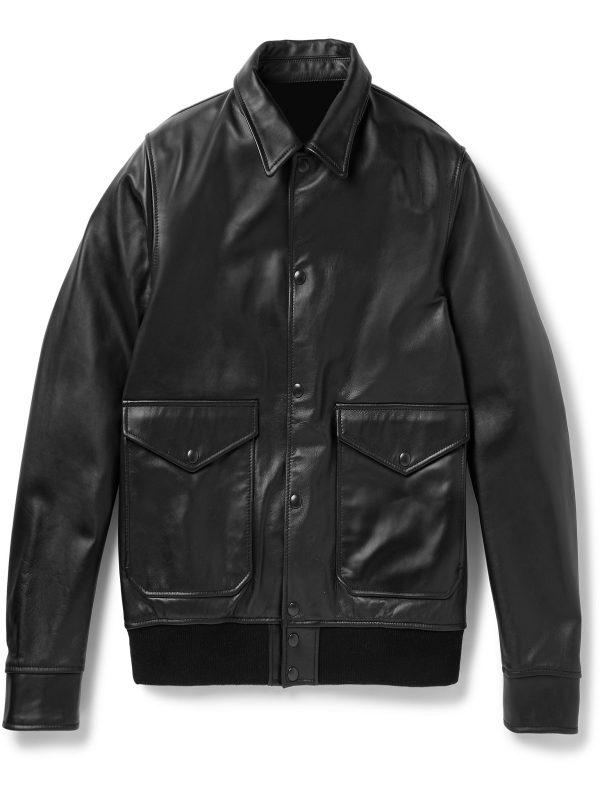 men pure black leather jacket