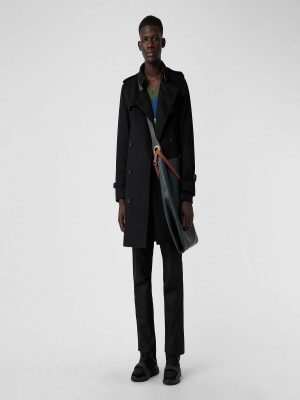 men pure black wool trench
