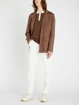 men brown cotton jacket