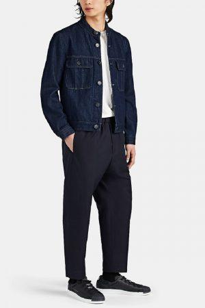 men blue cotton jacket