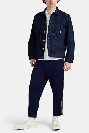 men blue cotton shirt jacket
