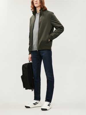 men khaki fleece jacket