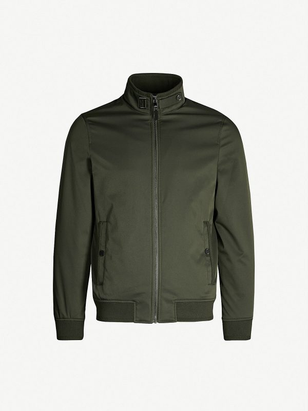 men khaki green leather varsity jacket