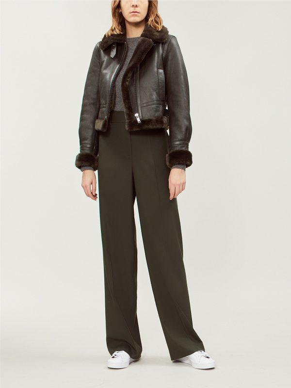 women black bomber leather jacket