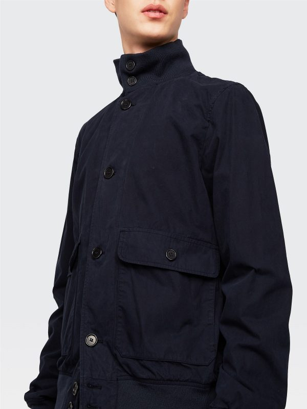 men blue cotton jacket