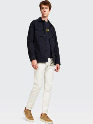 men navy blue shirt coat