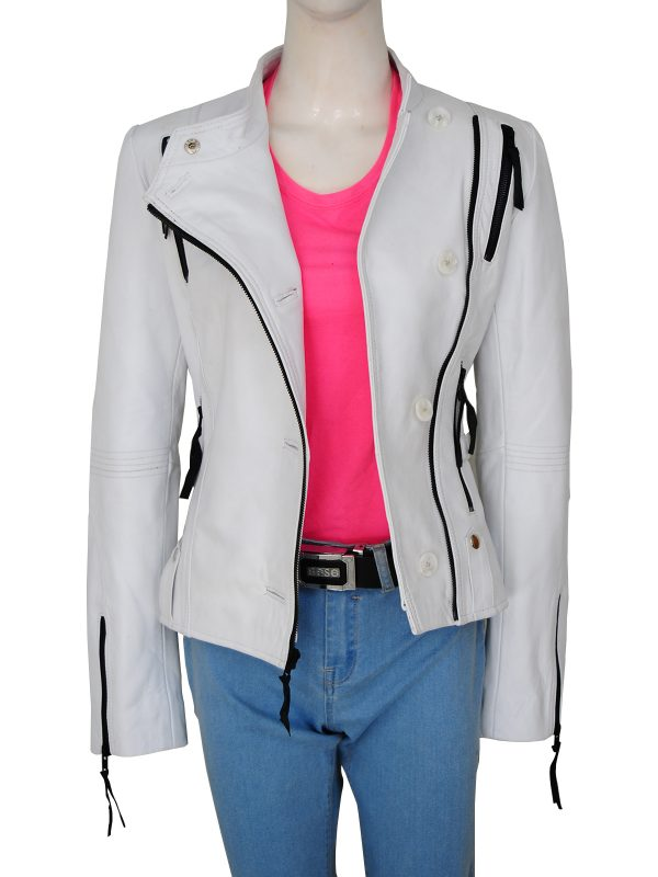 trendy white women leather jacket, white leather jacket for women,