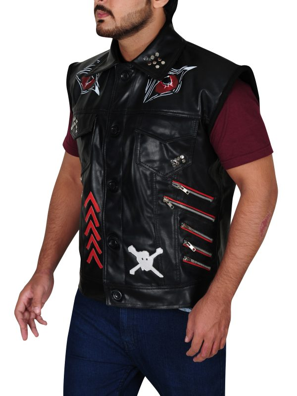 stylish men leather vest, fashionable leather vest,