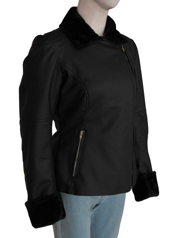 women black leather jacket, dashing black leather jacket for women,