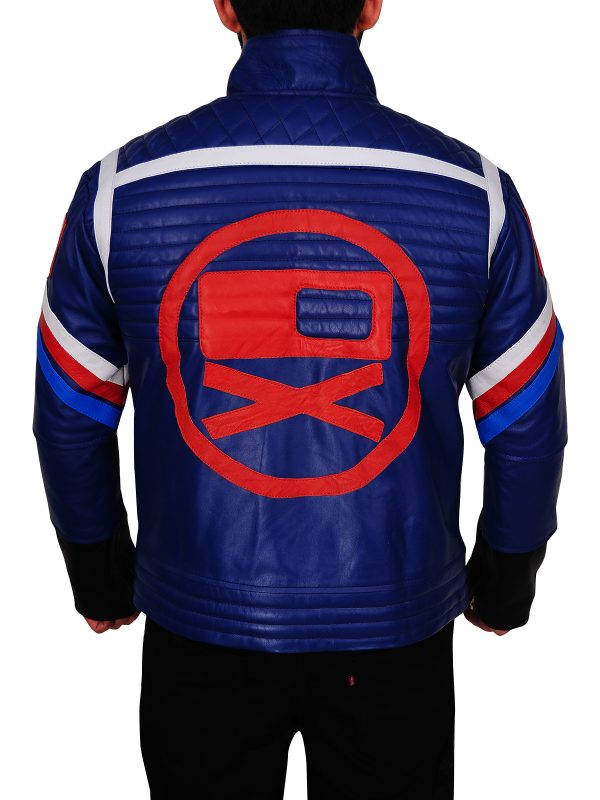 sleek blue leather jacket, fashion blue leather jacket,