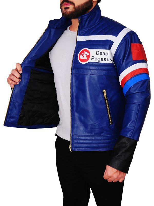 men blue leather jacket, body fitted blue leather jacket,