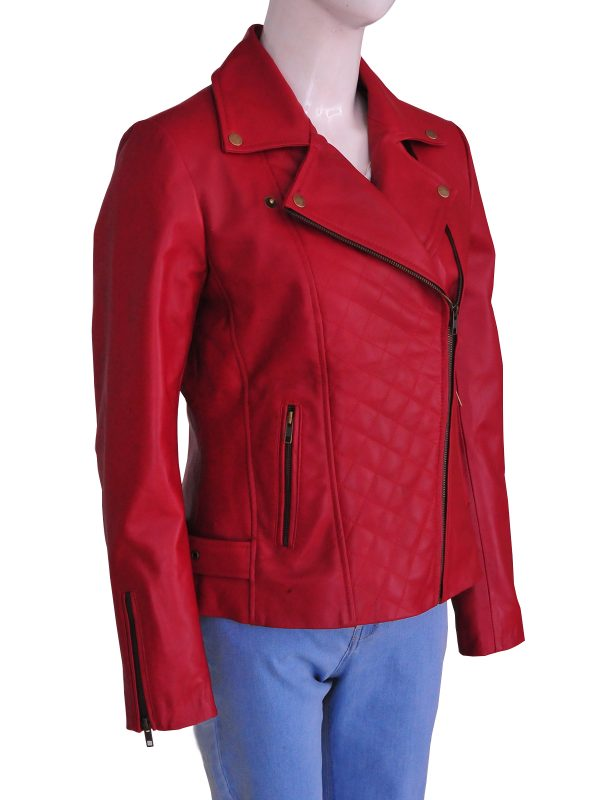red women leather jacket, women red leather jacket,