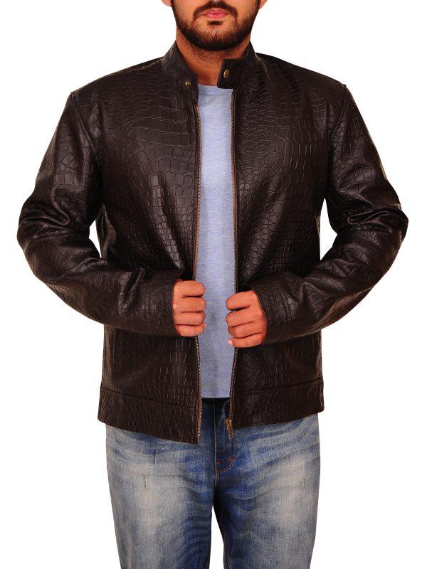 exotic animal leather jacket, men croc leather jacket,