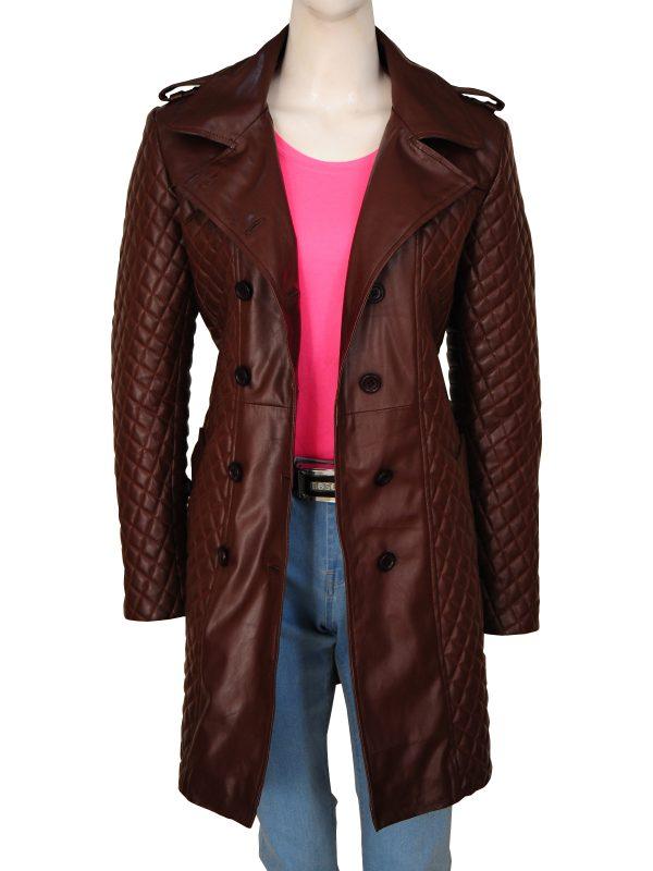 trending women brown leather coat, stylish brown women leather coat,