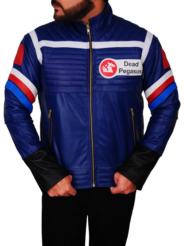 dashing blue leather jacket, fashionable blue leather jacket,