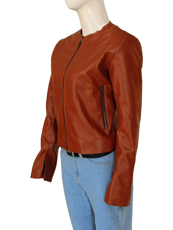 women's brown leather jacket, trending brown leather jacket,