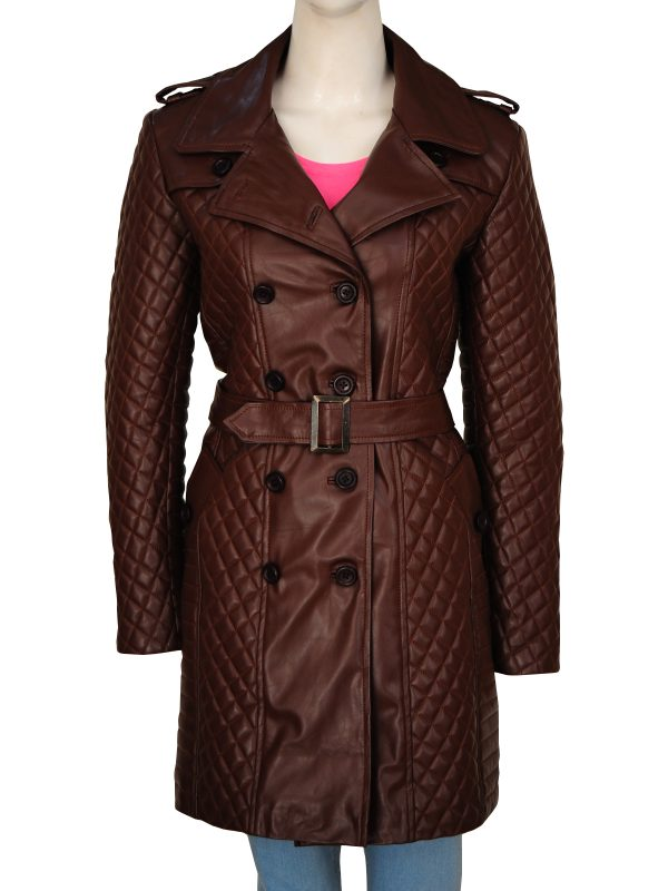 trendy women brown leather coat, brown leather coat for women,