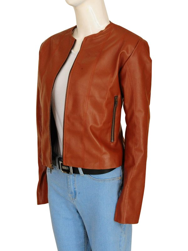 brown leather jacket for women, chic brown leather jacket for women,