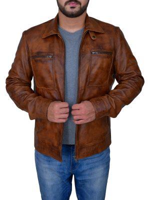 fashionable distressed brown jacket, stylish distressed brown jacket,