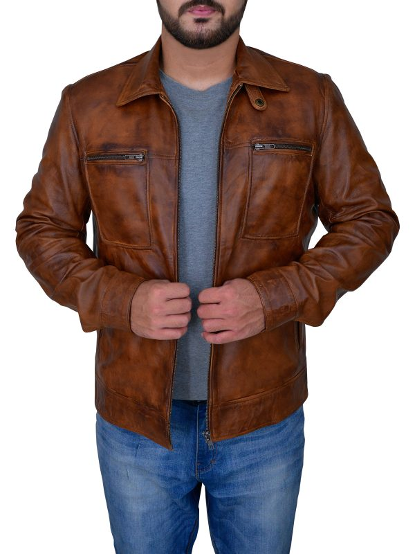 fashionable distressed brown jacket, stylish distressed brown jacket,
