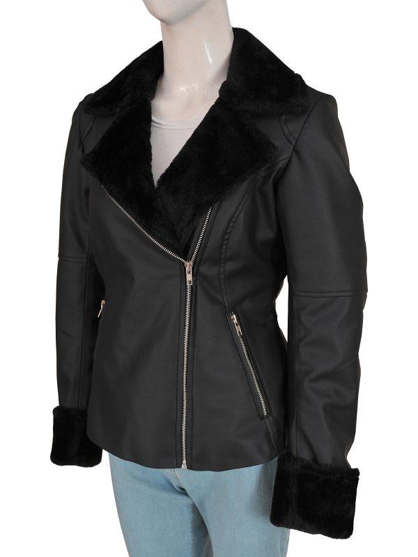 trending black leather jacket for women