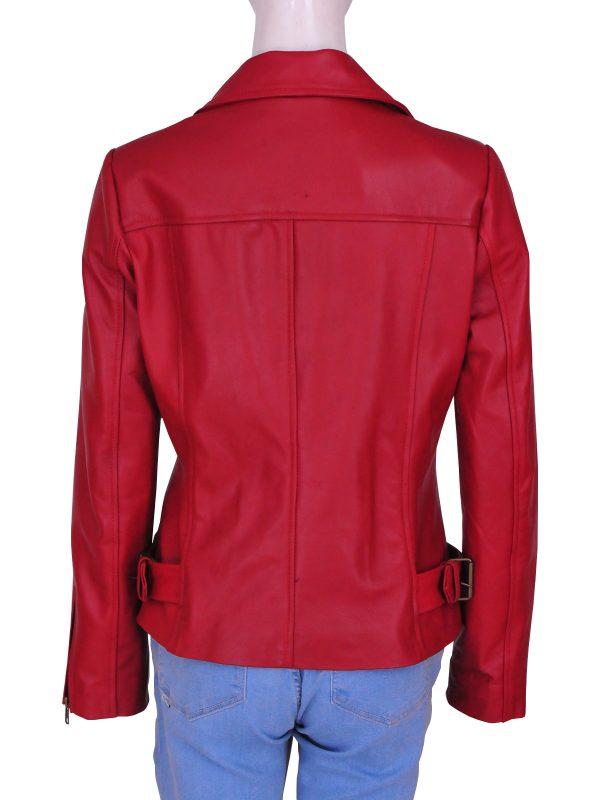 stylish women red leather jacket, fashionable women red leather jacket,