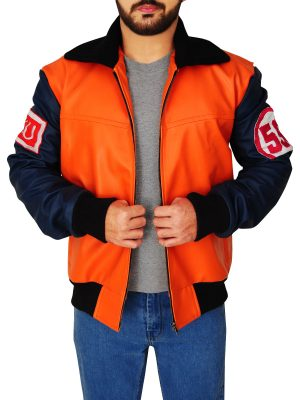 orange varsity jacket, stylish leather varsity jacket for men,