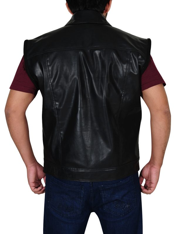 black leather vest, biker leather vest,