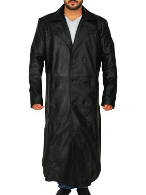 pitch black trench coat for men, army leather trench coat for men,