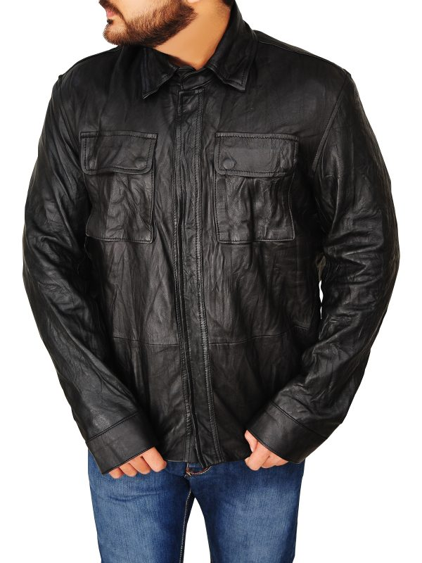 stylish men black leather jacket, fashionable men black leather jacket,