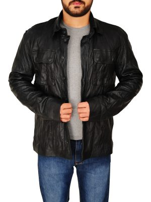 wrinkled black leather jacket, trendy black wrinkled jacket,