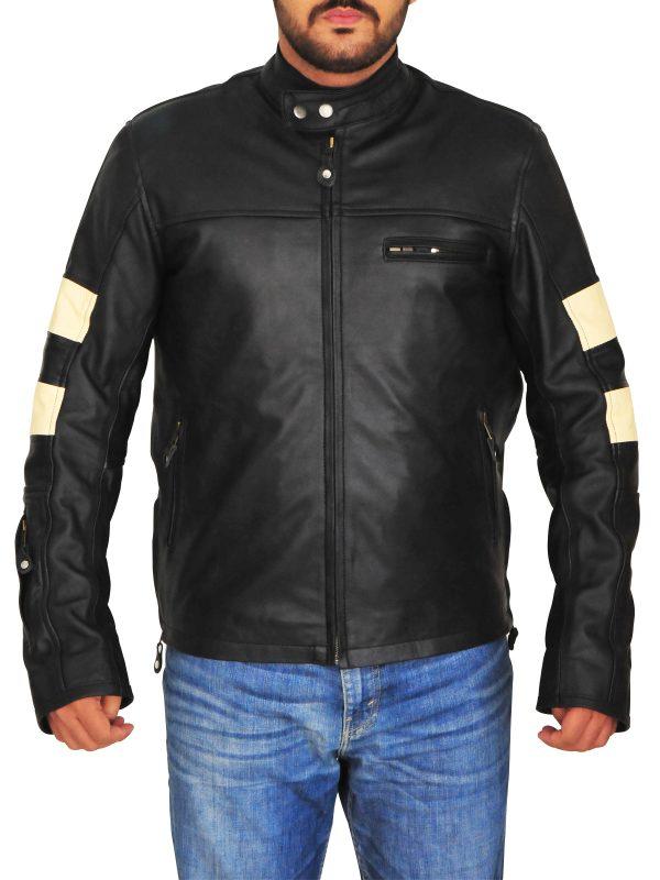 biker jacket with stripes, leather jacket with stripes,