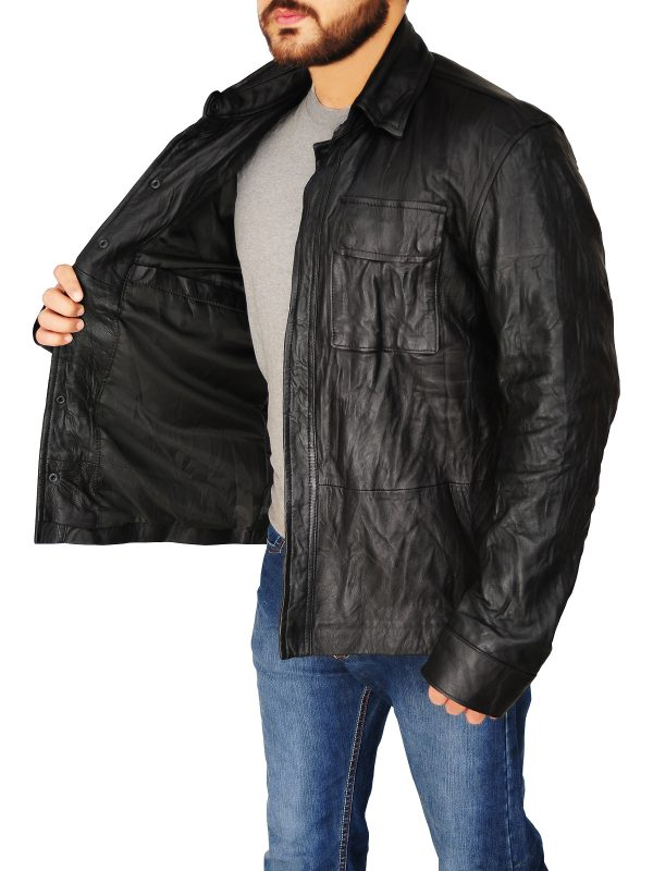 men's black leather jacket, black leather jacket for men,