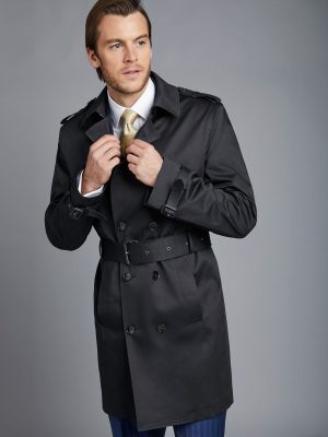 men jet black cotton trench