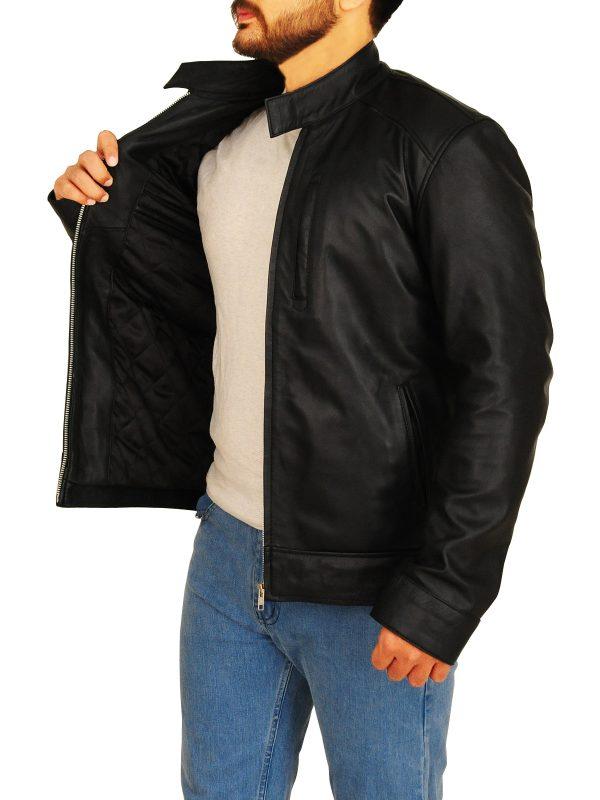 fashionable leather jacket, simple black leather jacket,