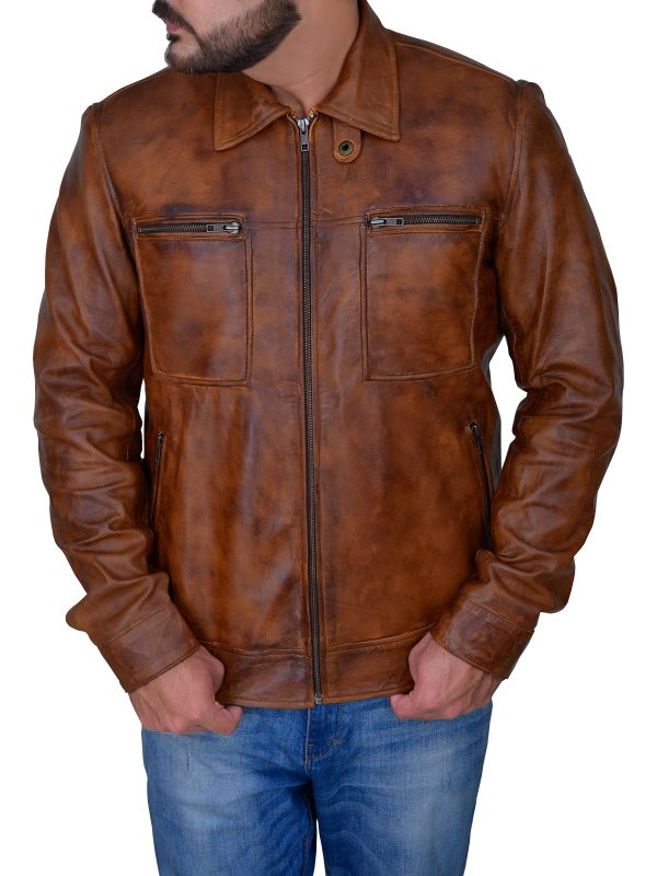 distressed brown leather jacket for men, men's distressed brown leather jacket,