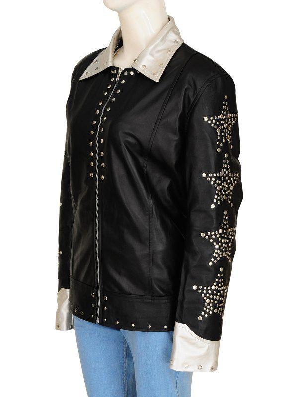 dashing women leather jacket, stylish black women leather jacket,