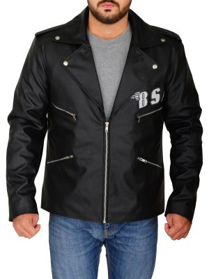 fashionable black leather jacket, men's black leather jacket,