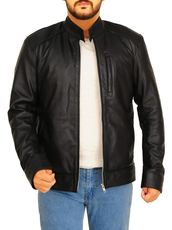 mauvetree black leather jacket, real leather black jacket,