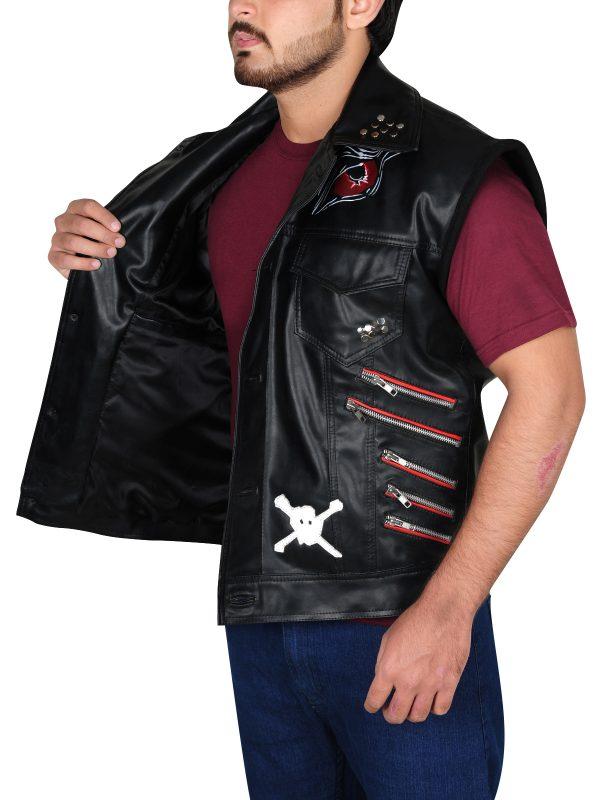 leather for men, men's leather vest,