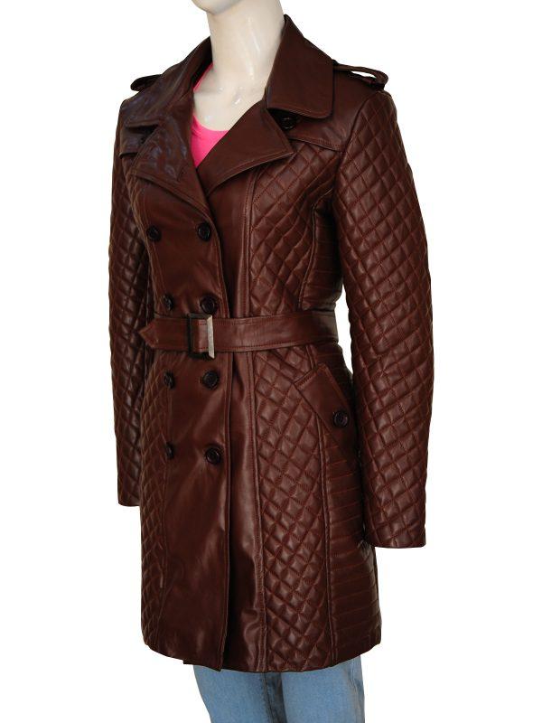 women brown leather overcoat, brown leather overcoat for women,
